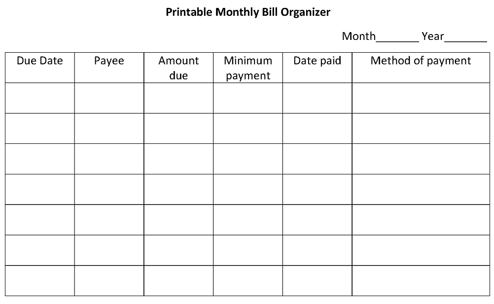 Printable Monthly Bill Organizer Spreadsheet | Calendar Template 2016